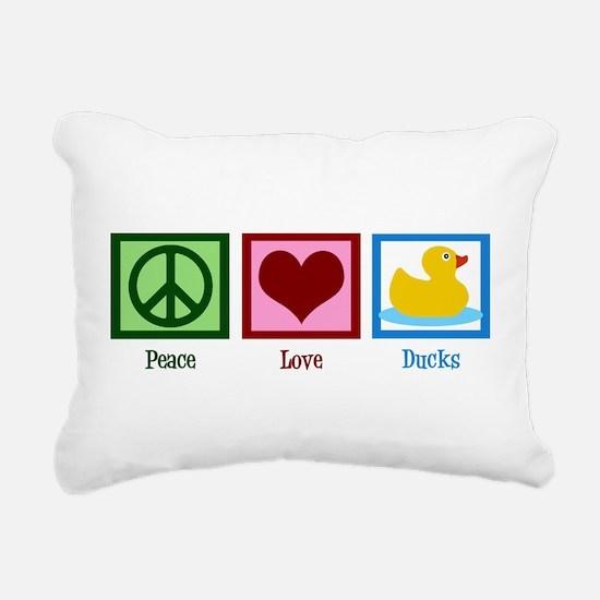Peace Love Ducks Rectangular Canvas Pillow