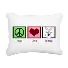 Peace Love Bunnies Rectangular Canvas Pillow