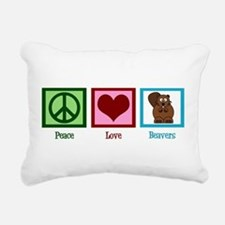 Peace Love Beavers Rectangular Canvas Pillow