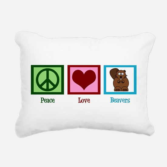 Peace Love Beavers Rectangular Canvas Pillow