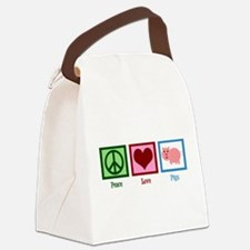 Peace Love Pigs Canvas Lunch Bag