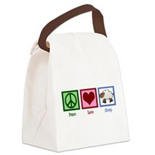 Peace Love Sheep Canvas Lunch Bag