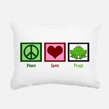 Peace Love Frogs Rectangular Canvas Pillow