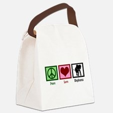 Peace Love Elephants Canvas Lunch Bag