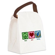 Peace Love Birding Canvas Lunch Bag