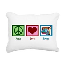 Peace Love Poetry Rectangular Canvas Pillow