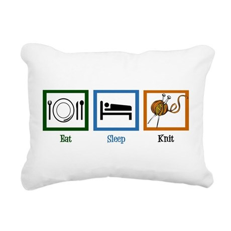 Eat Sleep Knit Rectangular Canvas Pillow