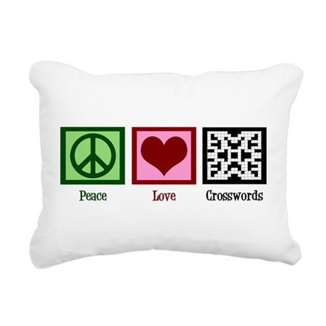Peace Love Crosswords Rectangular Canvas Pillow