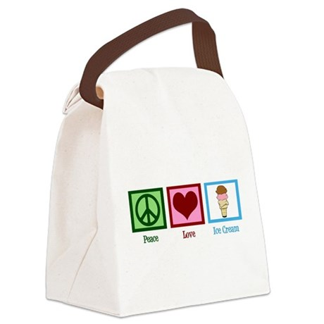 Peace Love Ice Cream Canvas Lunch Bag