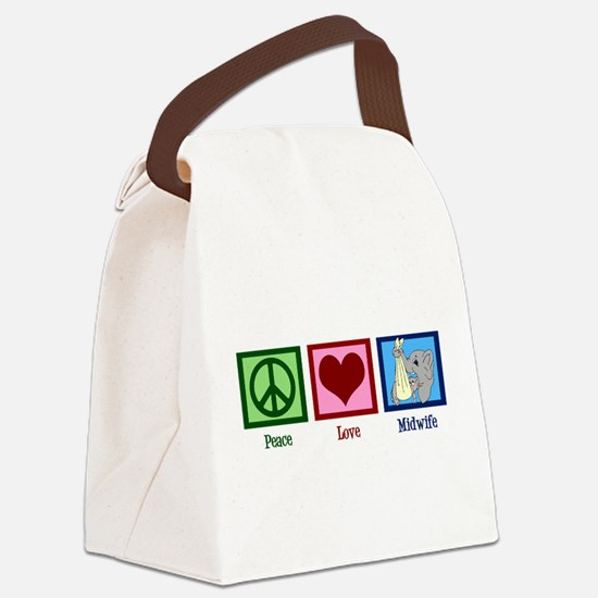 Peace Love Midwife Canvas Lunch Bag