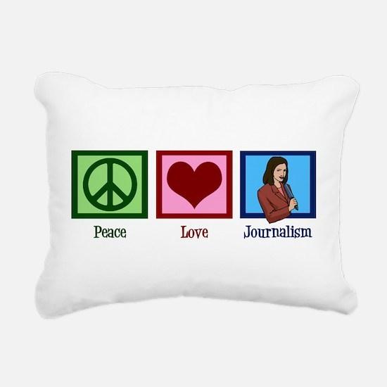 Peace Love Journalism Rectangular Canvas Pillow