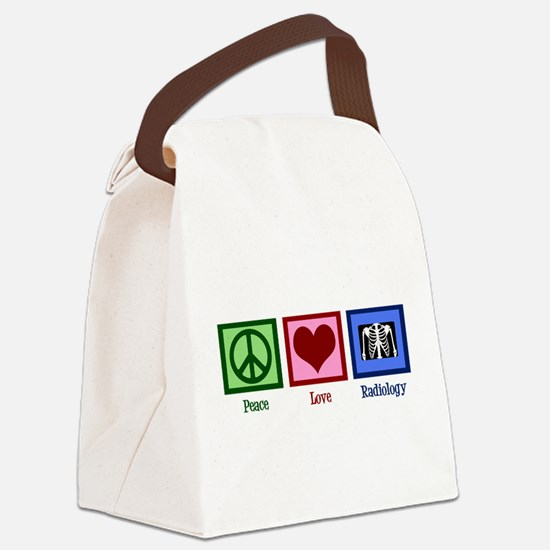 Peace Love Radiology Canvas Lunch Bag