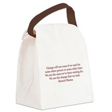Obama Quote on Change Canvas Lunch Bag