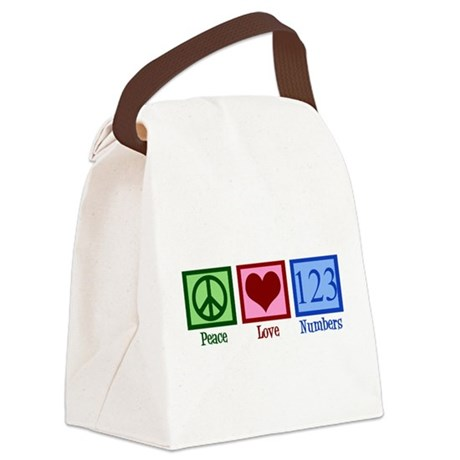 Peace Love Numbers Canvas Lunch Bag