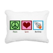 Peace Love Rockets Rectangular Canvas Pillow