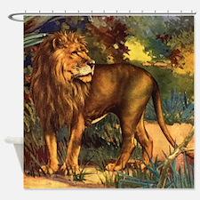 Vintage Lion Painting Shower Curtain