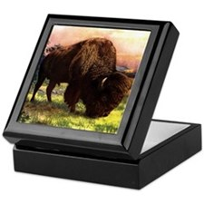 Vintage Bison Painting Keepsake Box