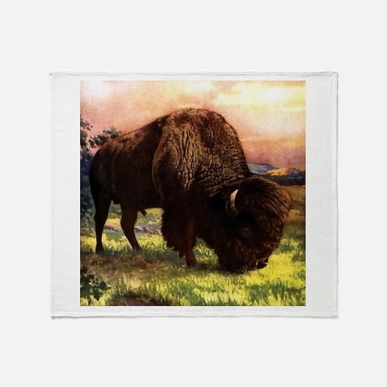 Vintage Bison Painting Throw Blanket