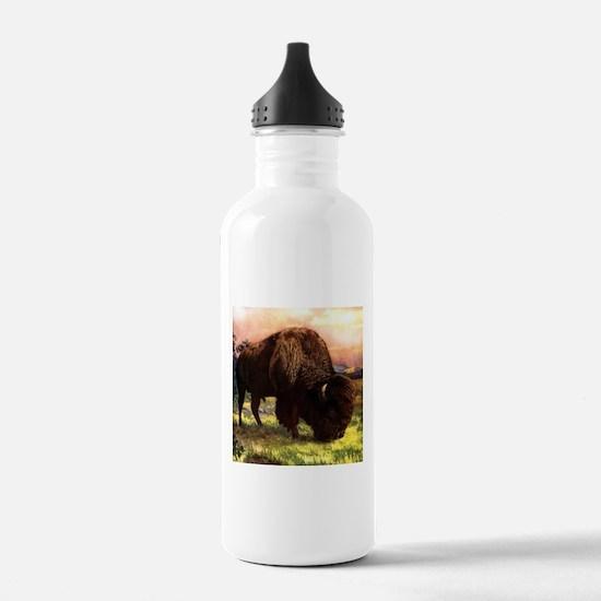 Vintage Bison Painting Water Bottle