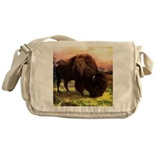 Vintage Bison Painting Messenger Bag