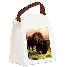 Vintage Bison Painting Canvas Lunch Bag
