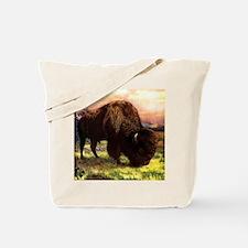 Vintage Bison Painting Tote Bag