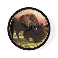 Vintage Bison Painting Wall Clock