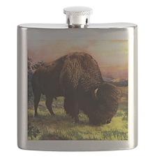 Vintage Bison Painting Flask