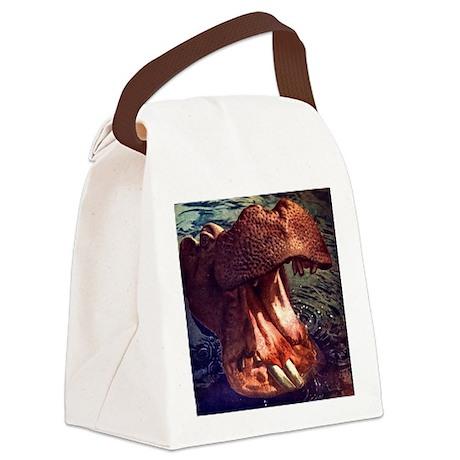 Vintage Hippopotamus Canvas Lunch Bag
