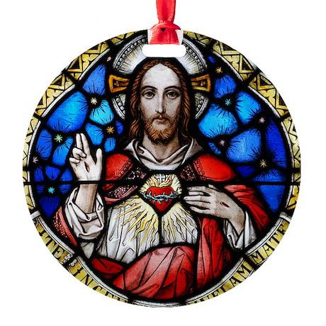 Sacred Heart and St Ignatius Loyola Round Ornament