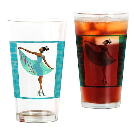 """Fabulous Diva"" Drinking Glass"
