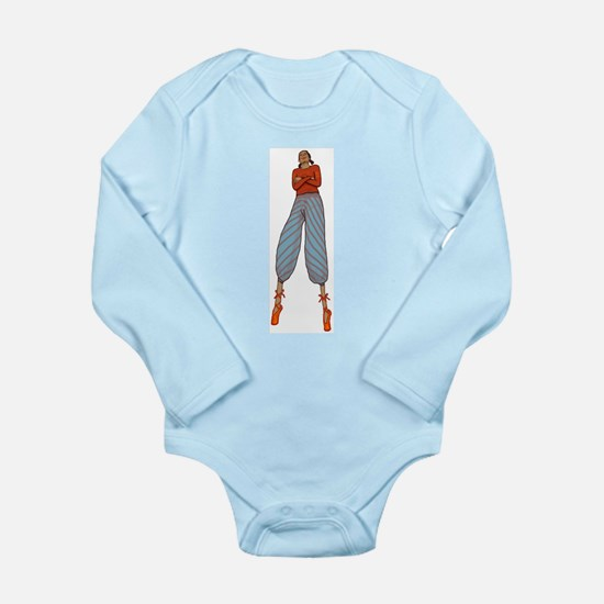 Stilt walkers are above it. Long Sleeve Infant Bod