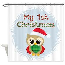 My 1st Christmas owl (boy) Shower Curtain
