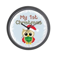 My 1st Christmas owl (boy) Wall Clock