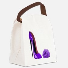 lilac stiletto and rose.jpg Canvas Lunch Bag