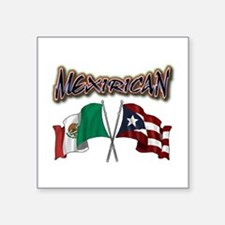 "MexiRican Flags centered Square Sticker 3"" x 3"""