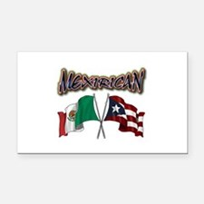 MexiRican Flags centered Rectangle Car Magnet