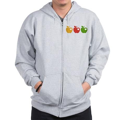 Apple Hearts Love to Teach Zip Hoodie