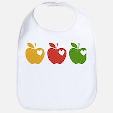 Apple Hearts Love to Teach Bib