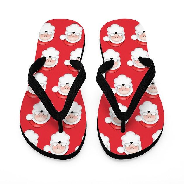 Fun Christmas Santa Claus Pattern Flip Flops By