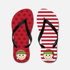 Funny Mismatched Christmas Elves Flip Flops