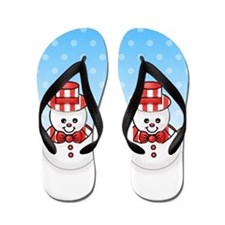 Adorable Snowman Winter Flip Flops