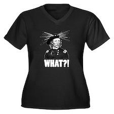 WHAT?! Women's Plus Size V-Neck Dark T-Shirt