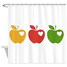 Apple Hearts Love to Teach Shower Curtain