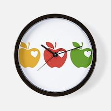 Apple Hearts Love to Teach Wall Clock