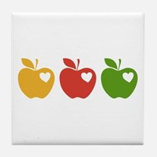 Apple Hearts Love to Teach Tile Coaster