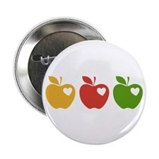 """Apple Hearts Love to Teach 2.25"""" Button (100 pack)"""