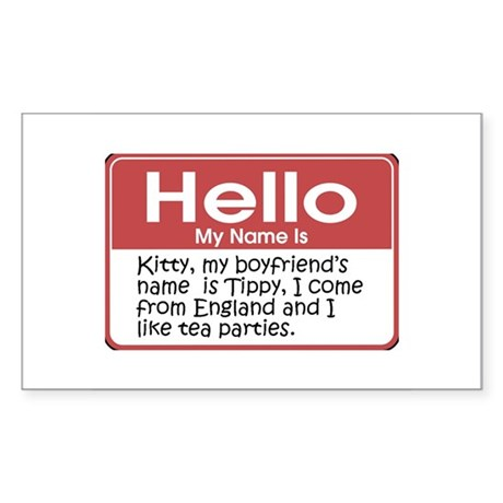 Hello My Name Is Kitty Rectangle Sticker