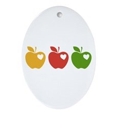 Apple Hearts Love to Teach Ornament (Oval)