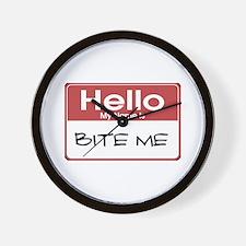 Hello My Name Is Bite Me Wall Clock